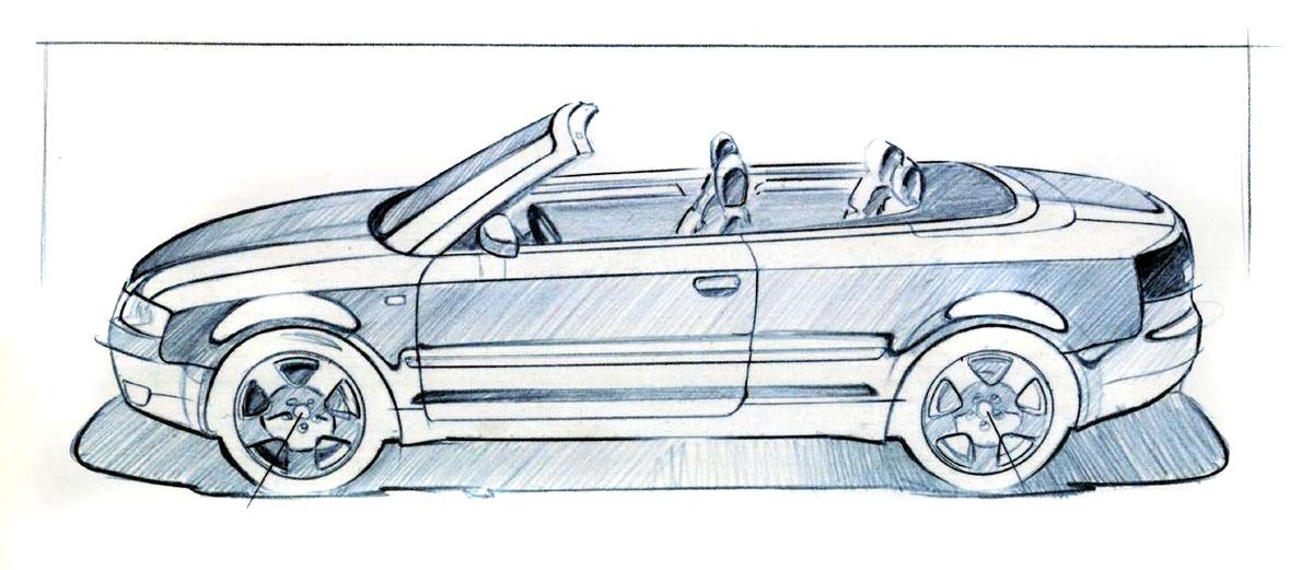 эскизы машин карандашом:
