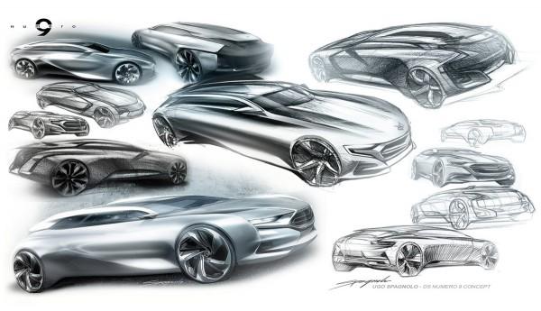 2012 Citroen Numero 9 Concept - рисунок автомобиля, дизайн эскиз, скетч.