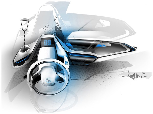 2011 BMW i3 Concept - Интерьер концепта, рисунки и скетчи